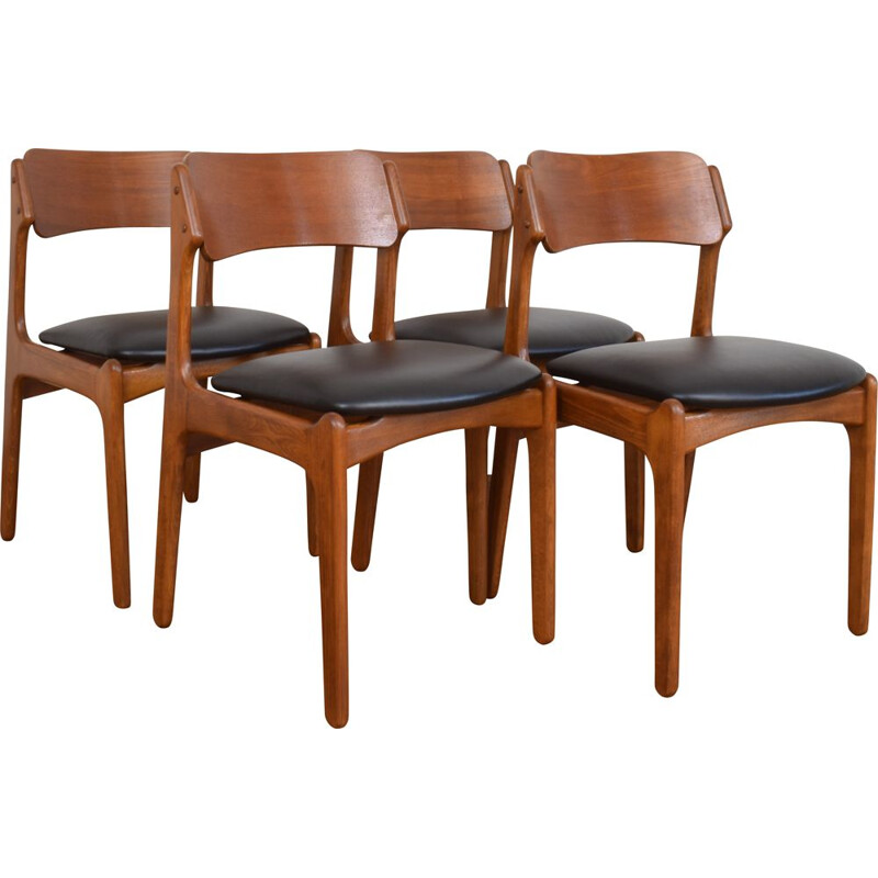 Set of 4 Mid-Century Teak & Leather Dining Chairs by Erik Buch, Danish 1960s