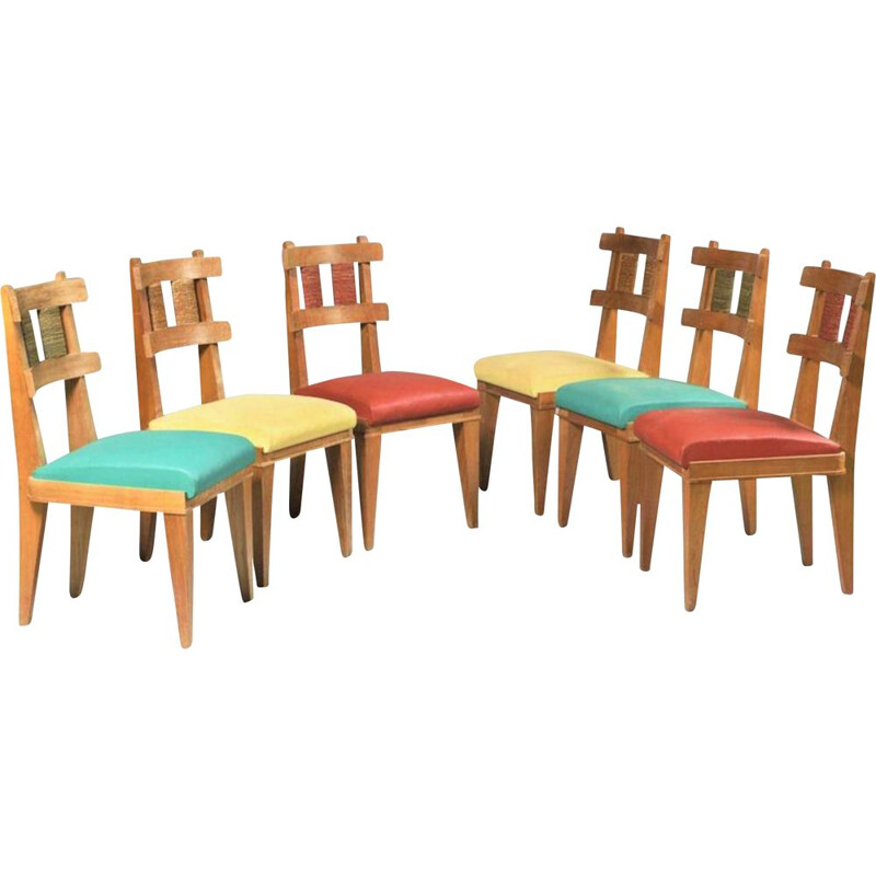 Set of 6 vintage cherrywood chairs French