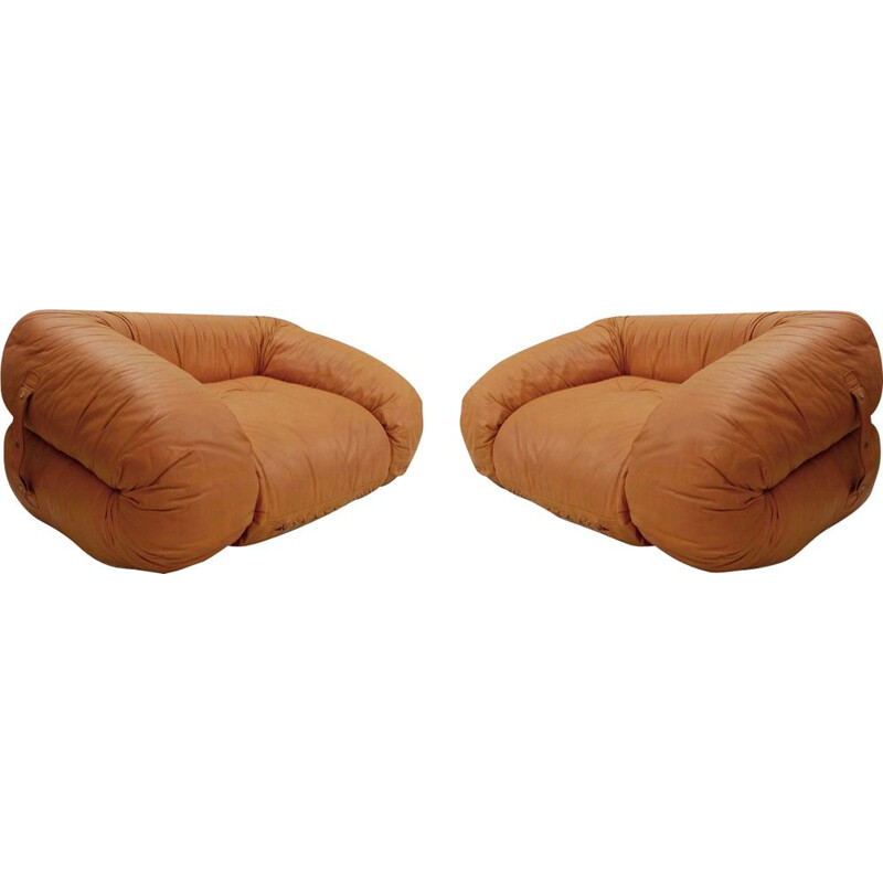 Pair of Vintage Cognac Leather Bed Armchairs 'Anfibio' By Alessandro Becchi For Giovannetti, Italy 1971