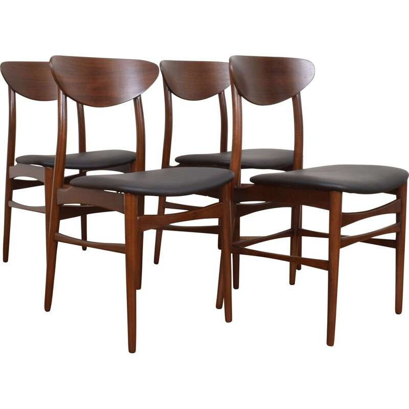 Set of 4 Mid-Century Danish Teak & Leather Dining Chairs, 1960s