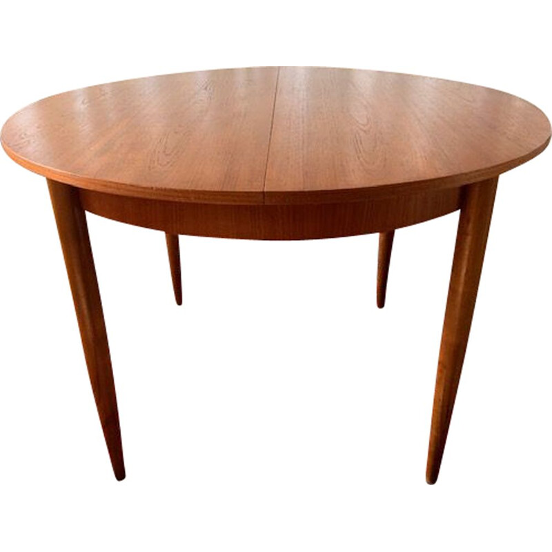 Vintage teak dining table with teak butterfly leaf 1960