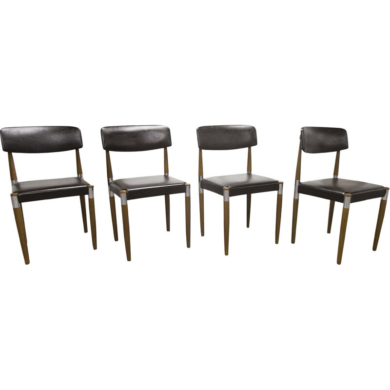 Set of 4 vintage chairs with tapered wooden legs Scandinavian 1960