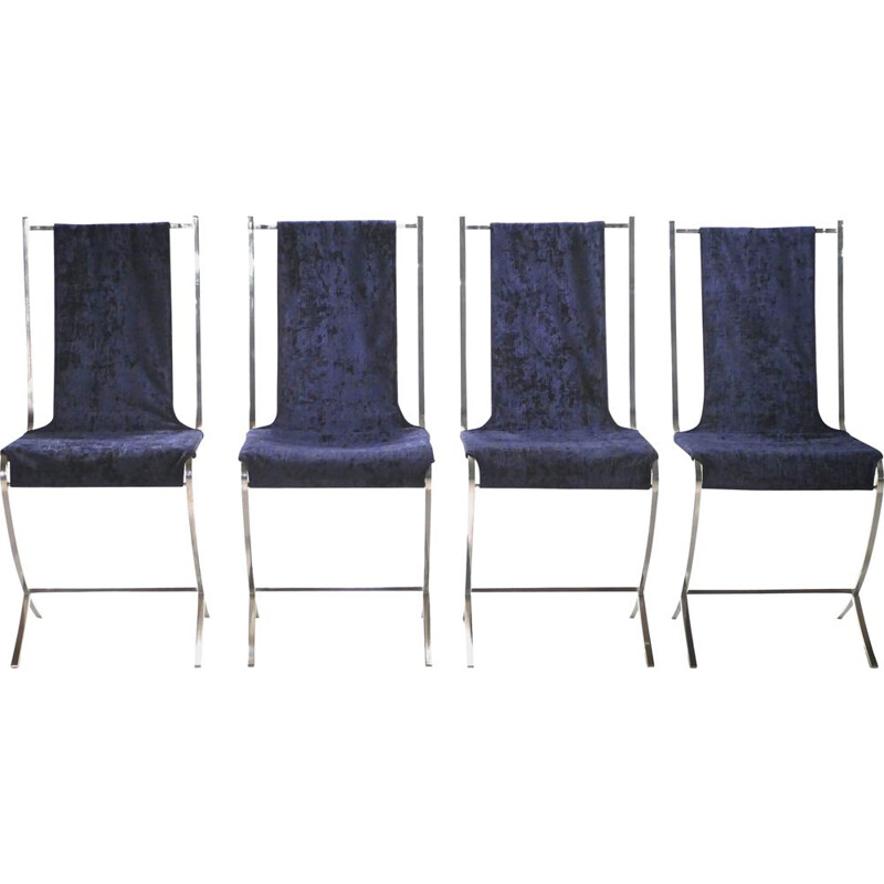 Set of 4 vintage Pierre Cardin chairs for Maison Jansen 1970