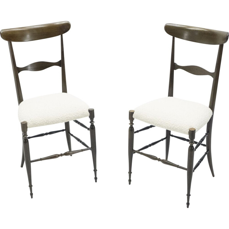 Pair of vintage Campanino Chiavari walnut chairs by Fratelli Levaggi 1950