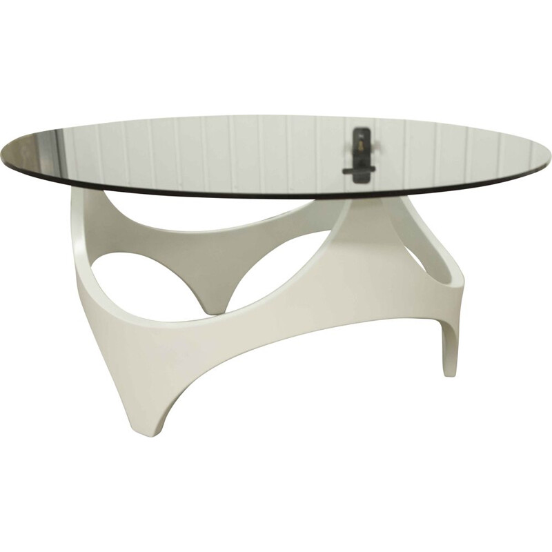 Vintage space age coffee table white curved wood 1970