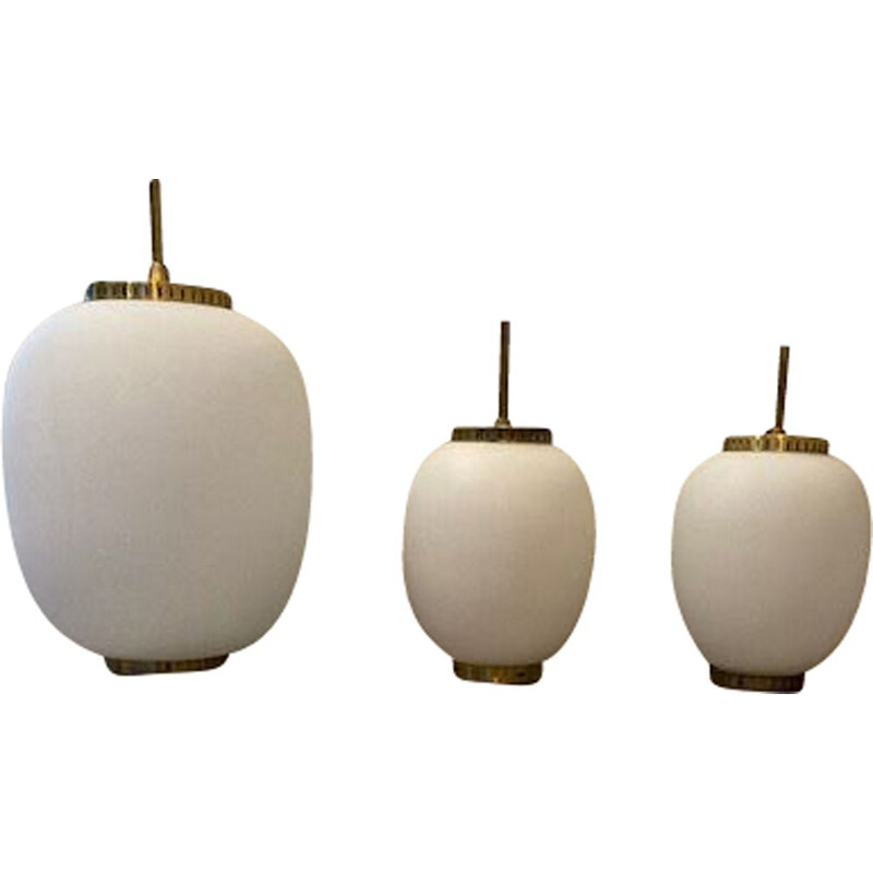 Series of 3 vintage suspensions by Bent Karbly by lyfa, Denmark 1950