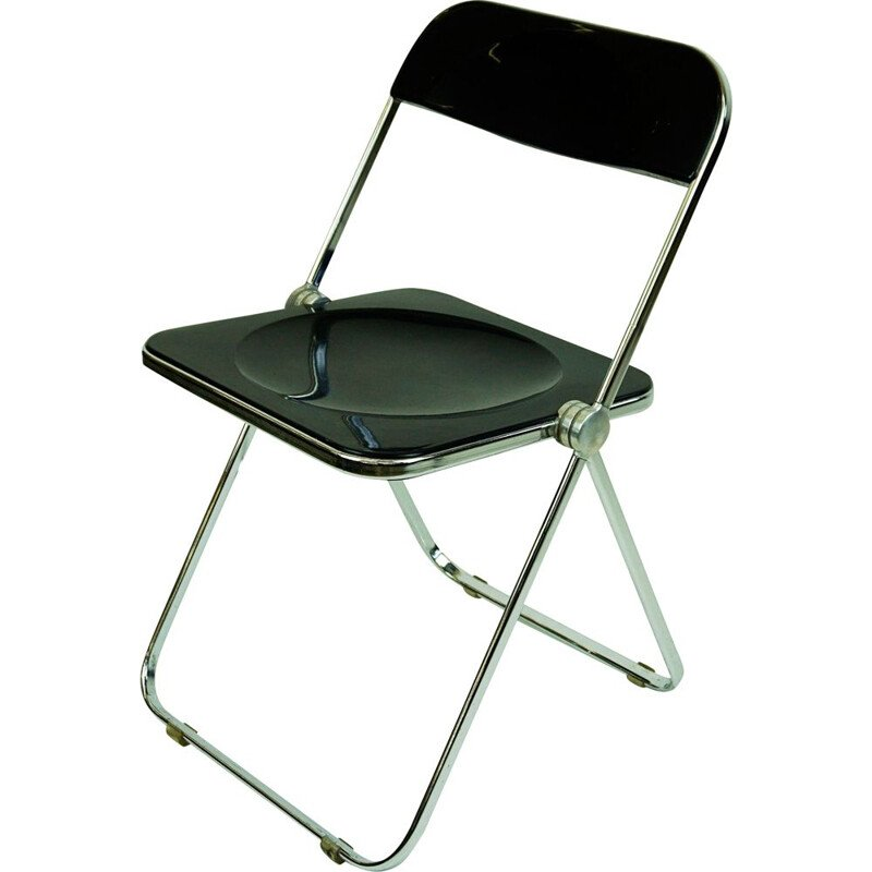 Vintage folding chair Black Plia by Giancarlo Piretti for Castelli, Italy