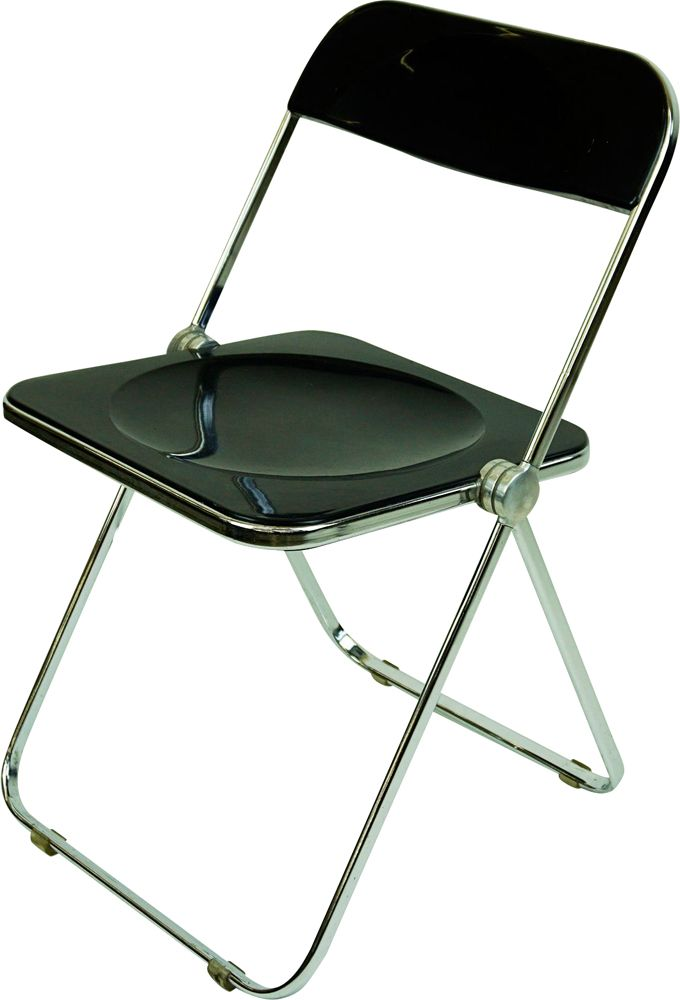 Black Perspex and Chrome Folding Chair
