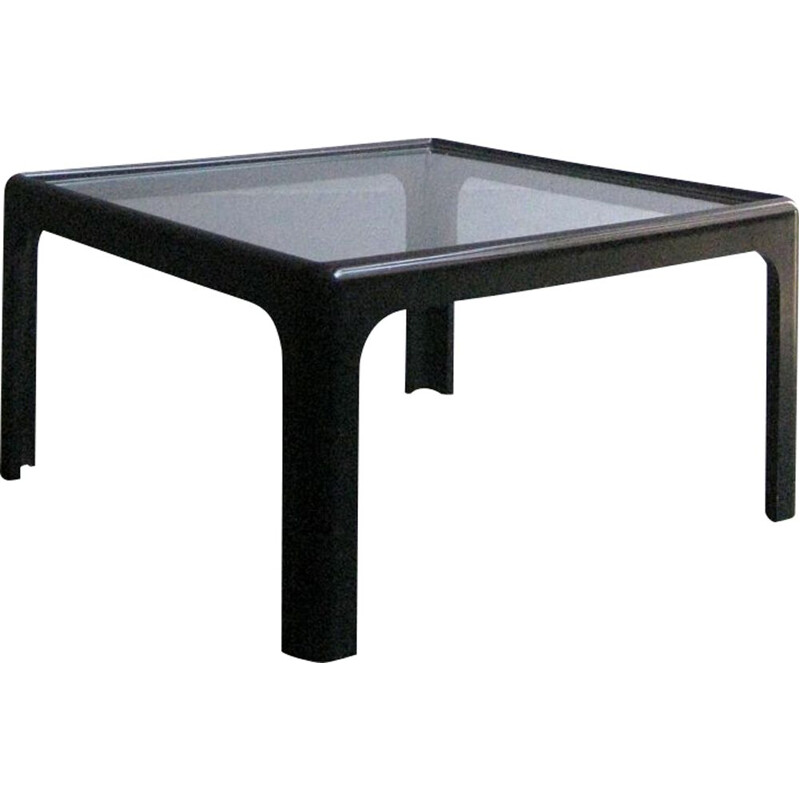 Vintage Black Wooden table with glass top 1970