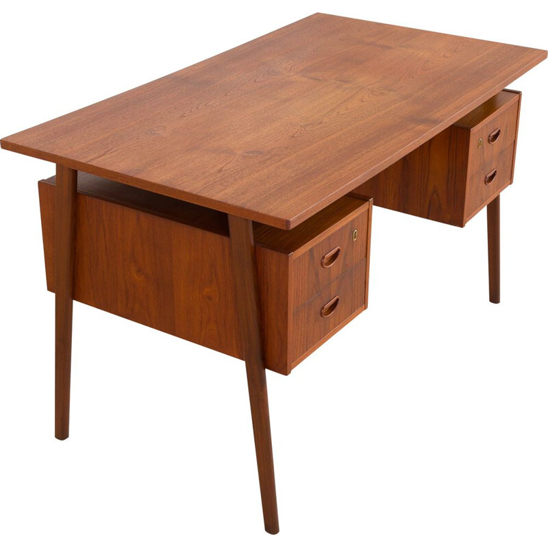 Vintage double-sided teak desk, Denmark 1960