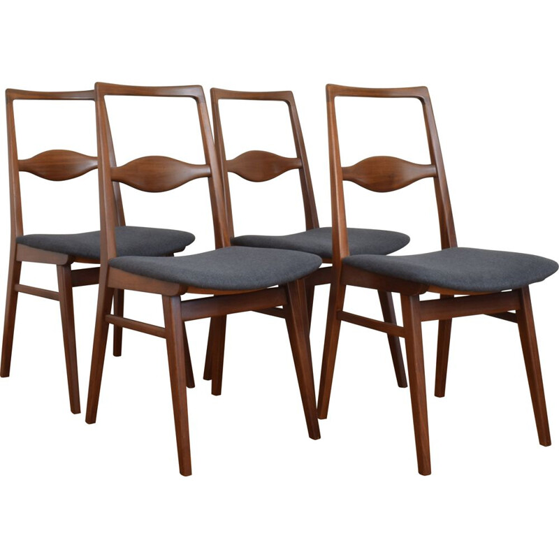 Set of 4 vintage teak chairs by Karl Nothhelfer 1950