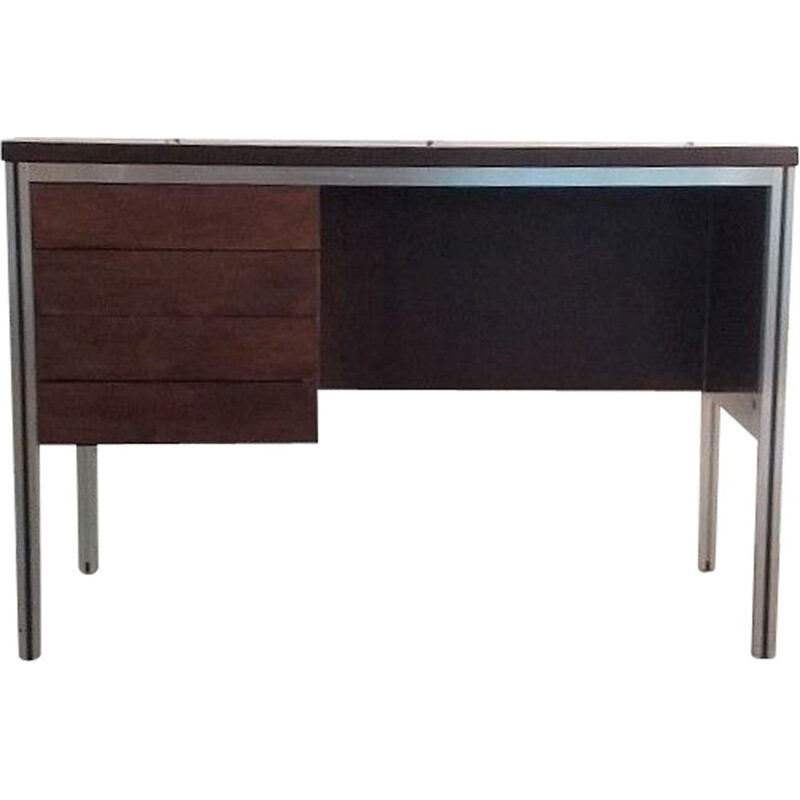 Vintage rosewood and aluminium desk 1970