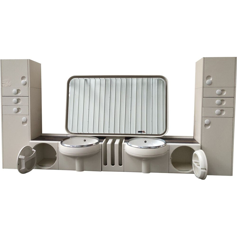Vintage bathroom furniture with basins and mirror by Crb Arredamenti