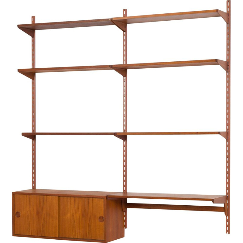 Vintage wall unit with small desk shelf and cabinet in teak Kai Kristiansen FM Mobler, Denmark 1960s