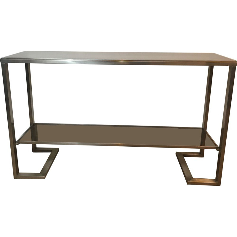 Vintage Console in Brushed Steel and Smoked Glass Trays 1970