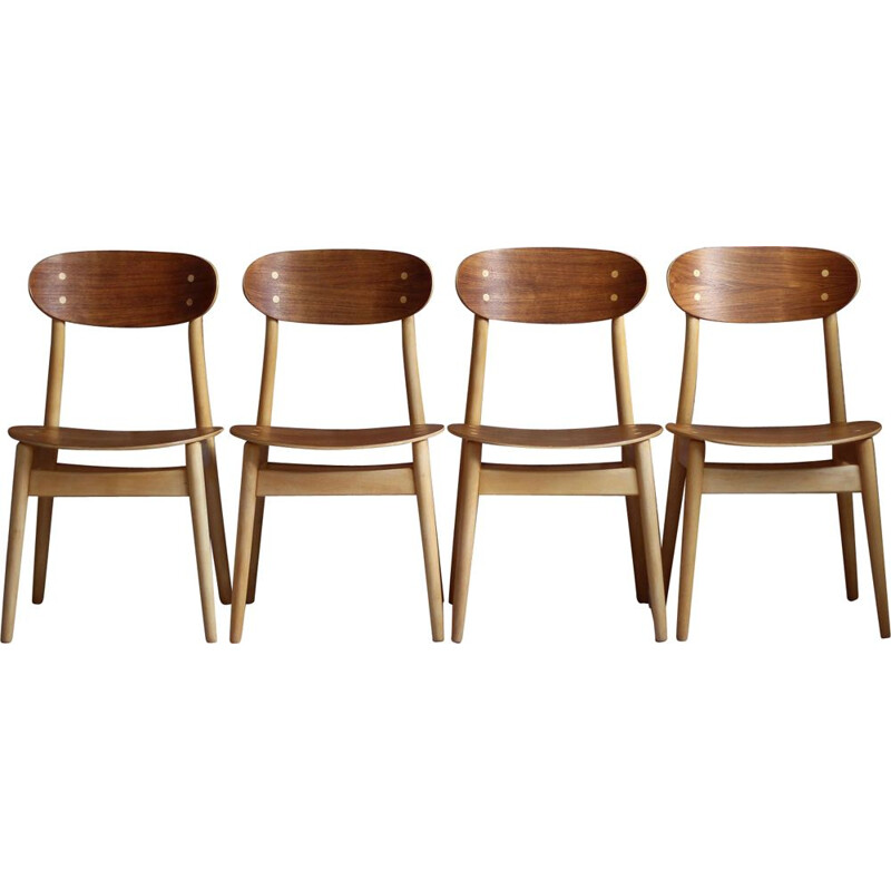 Set of 4 vintage Dining Chairs by Sven Erik Fryklund for Hagafors Stolfabrik, Sweden, 1960s