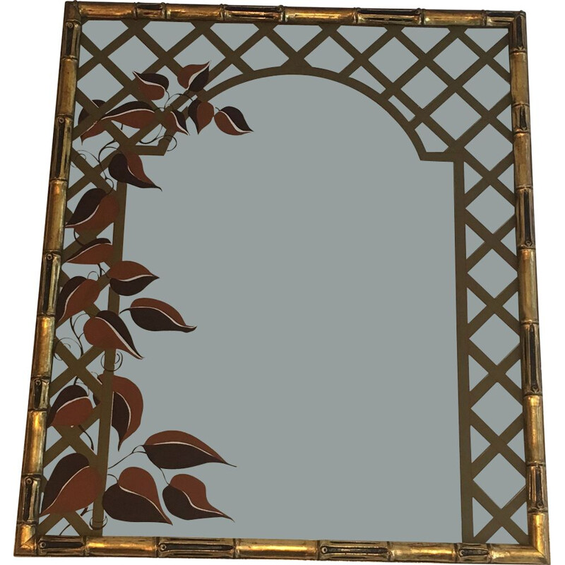 Vintage Mirror Decorative Faux-Bamboo Faux Wood and Floral Decorated with 1970's Printed Floral Decoration