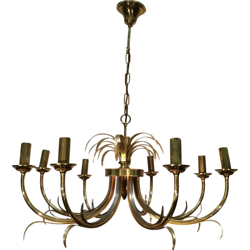 Vintage Pineapple chandelier with 8 arms of light 1970