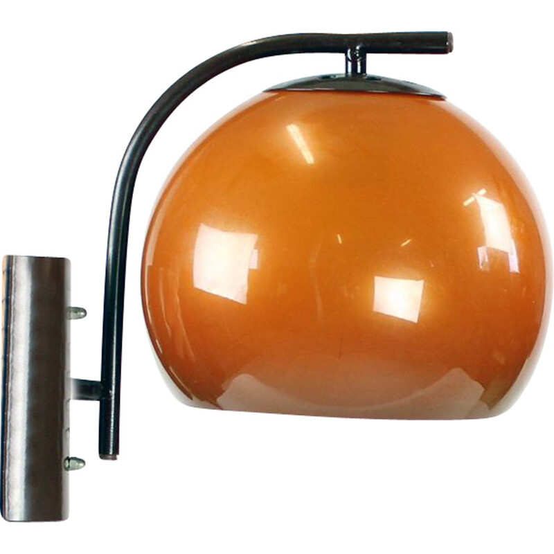 Midcentury Wall Light In Orange Color, Hungary 1970s