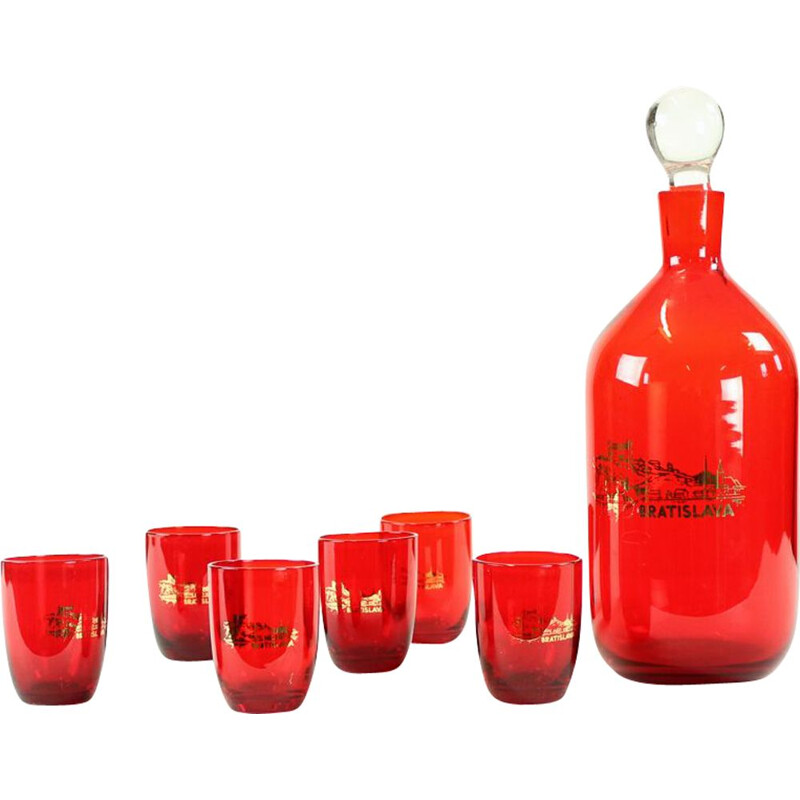Midcentury Alcohol Bottle & Shots Set In Red Glass, Czechoslovakia 1960s