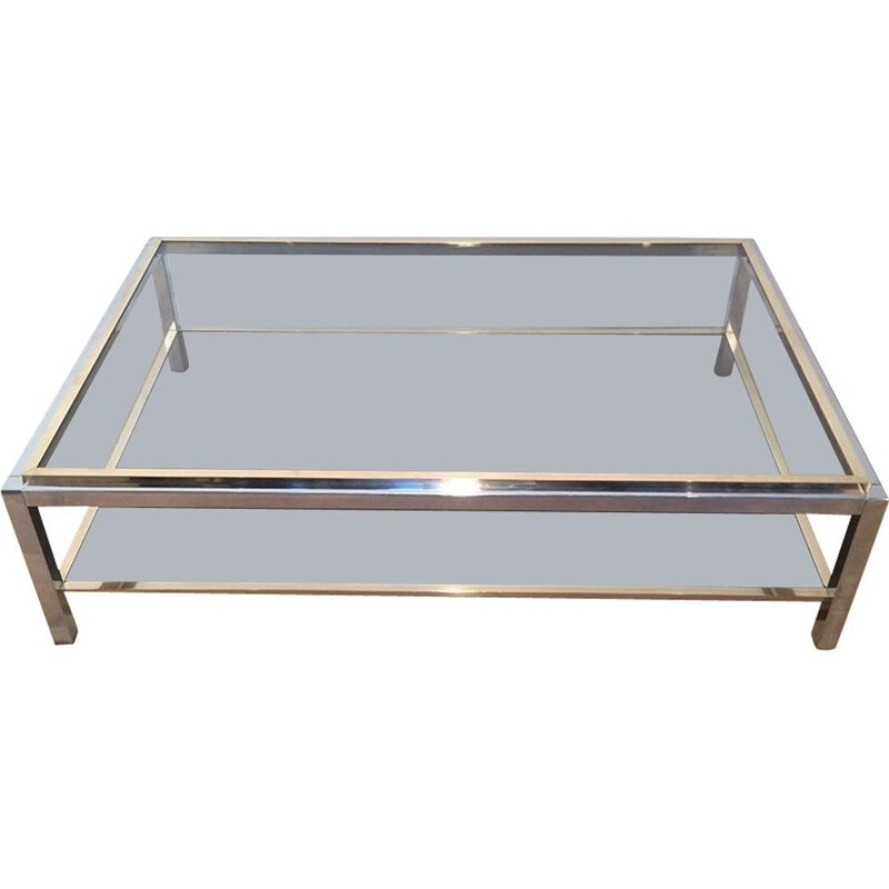 Vintage Coffee Table Chrome and Brass 1970