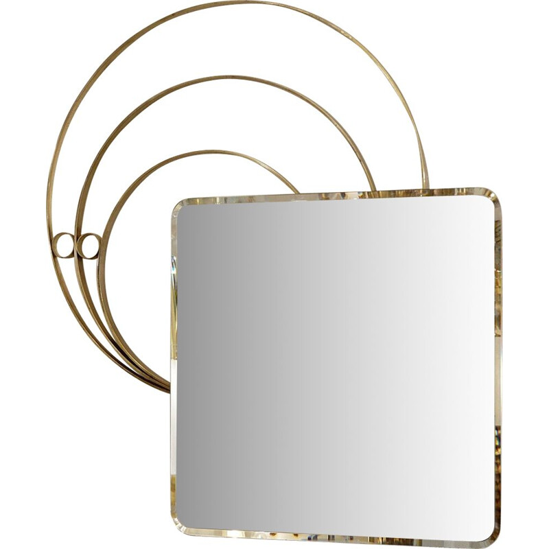 Large Vintage Wall Mirror by Luciano Frigerio Italian 1960