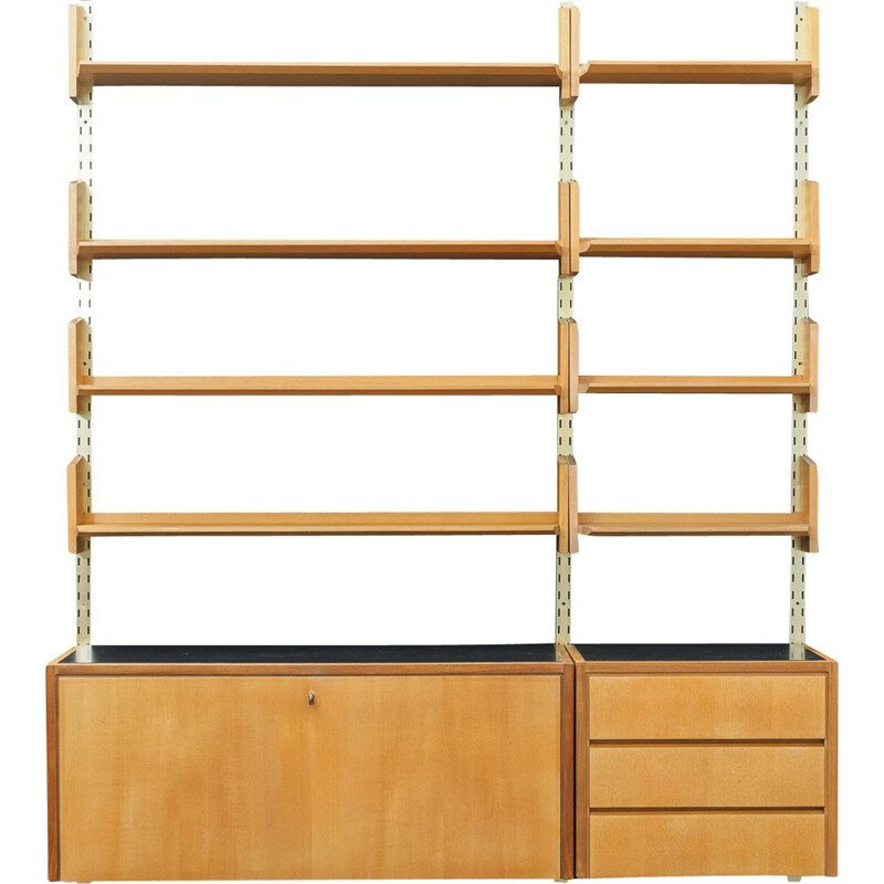 Large vintage wall shelving unit  by WK Möbel, elmwood, 1950s