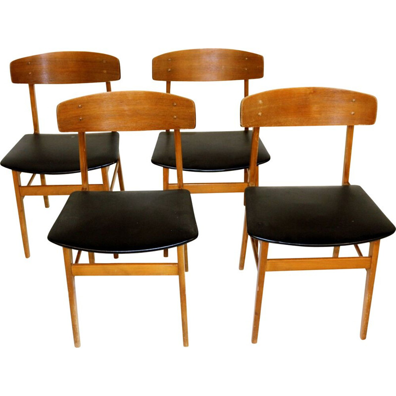 Set of 4 vintage teak and beech chairs, Denmark 1960