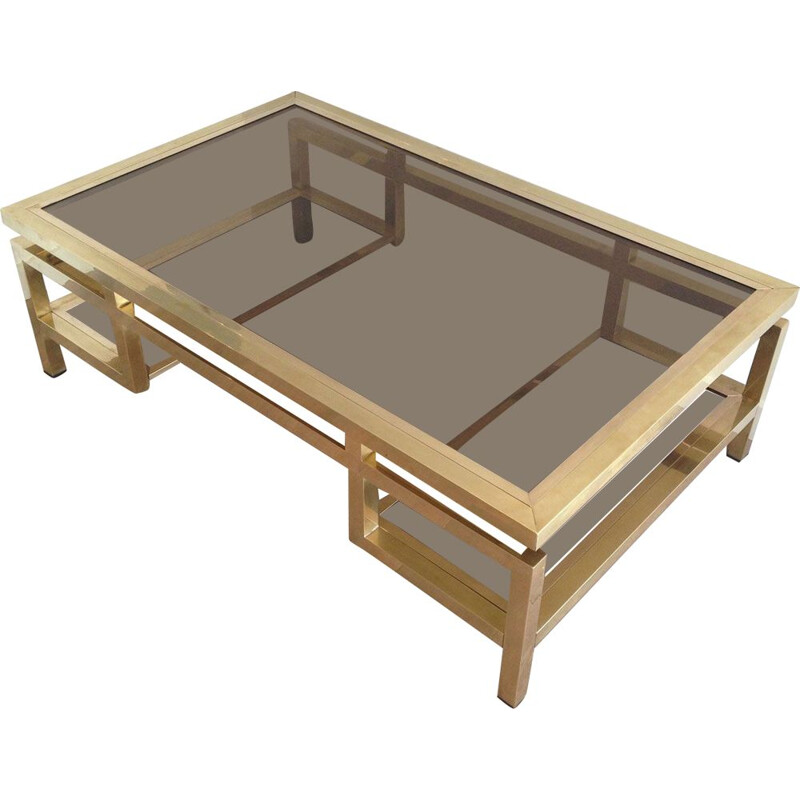 Vintage Brass Coffee Table French 1970