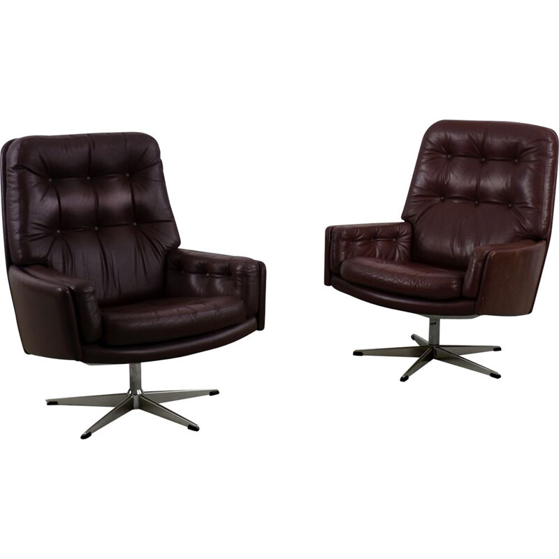 Mid-Century Brown Leather Swivel Armchair by Farstrup Møbler Danish 1960s