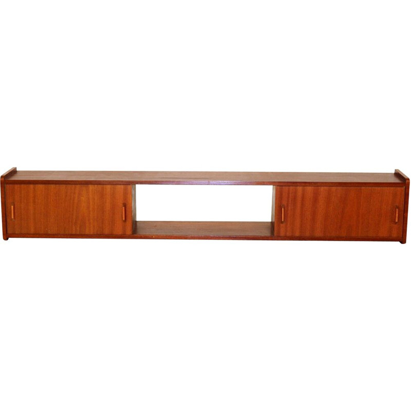 Vintage mahogany wall shelf Sweden 1960