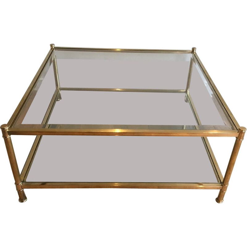 Vintage Square Brass Coffee Table 1970