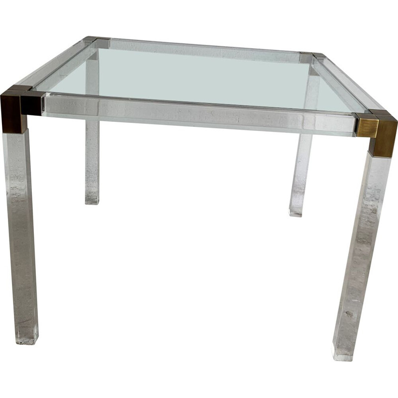 Vintage Coffee Table By Charles Hollis Jones Lucite And Brass 1970