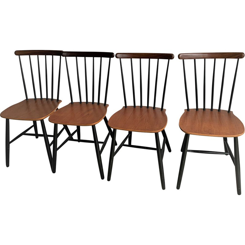 Set Of 4 Mid Century Spindle Dining Chairs From Billund Stolefabrik, Danish