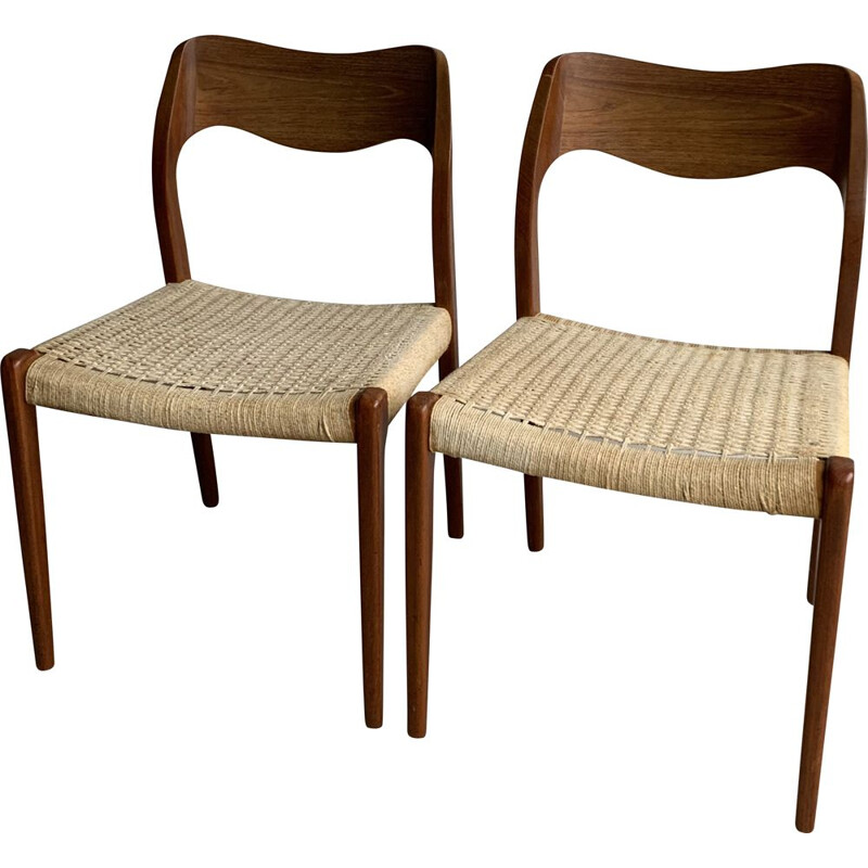 Pair of vintage Teak Model 71 Dining Chairs By Niels Otto Møller For J.L. Møllers, 1950s