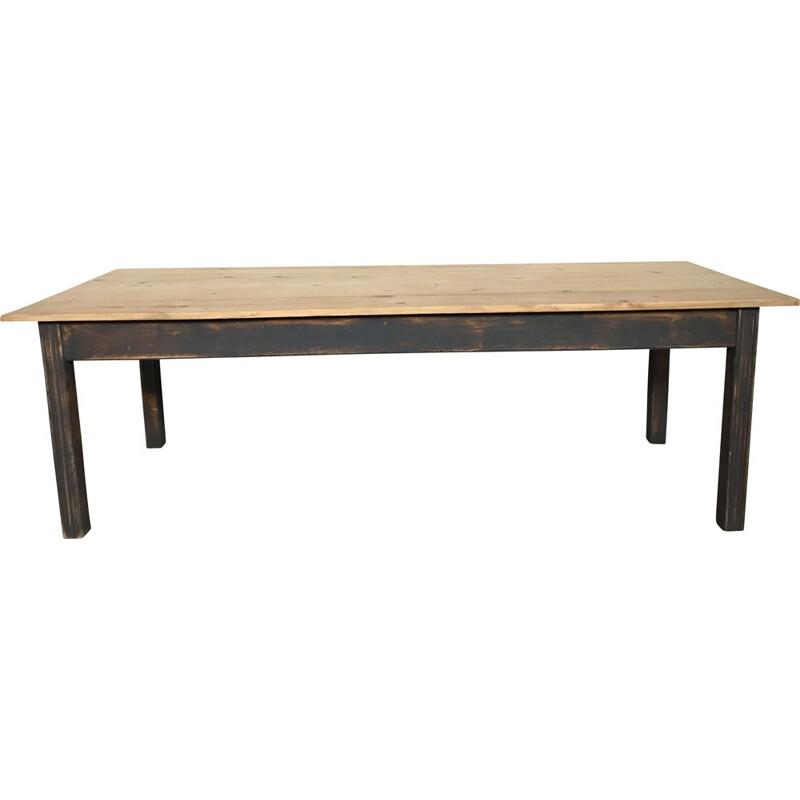 Large vintage farm table in fir, early 20th century