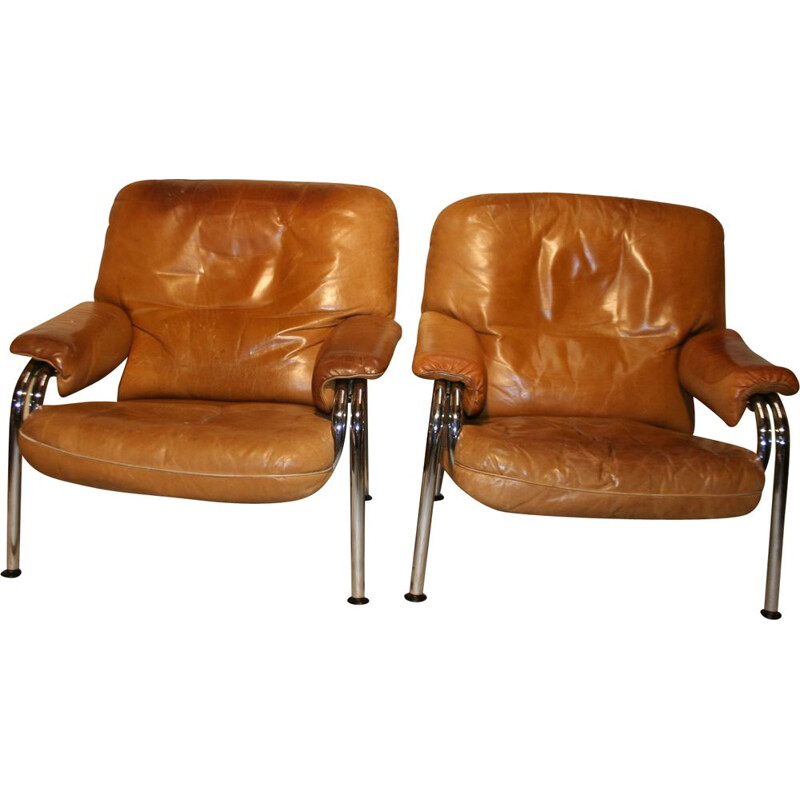 Pair of vintage leather chairs fom Hans Eichenberger for De Sede switzerland  1970s