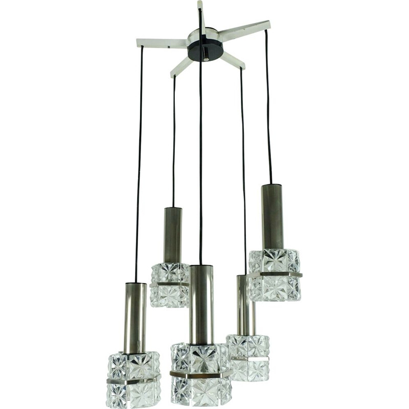 Mid century Pendant Light  5-light cascading lamp faceted glass and chrome 1960s