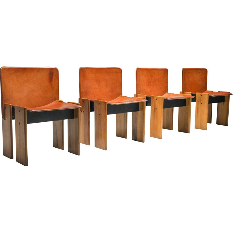 4 Vintage Dining Chairs in Tan Leather in the Style of Scarpa Italian 1970s