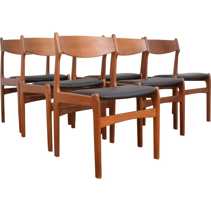 Set of 6 Mid-Century Teak & Leather Dining Chairs, Danish 1960s