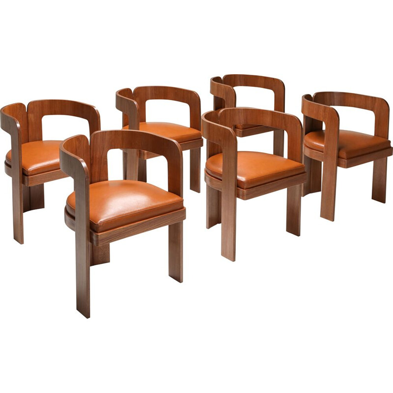 Set of 6 Vintage Dining Chairs Marzio Cechi 1970s