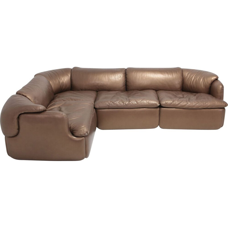 Vintage Bronze Golden Leather Saporiti Sectional Sofa 'Confidential' 1972