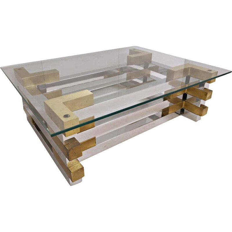 Vintage Coffee Table in Brass, Plexiglas and Glass