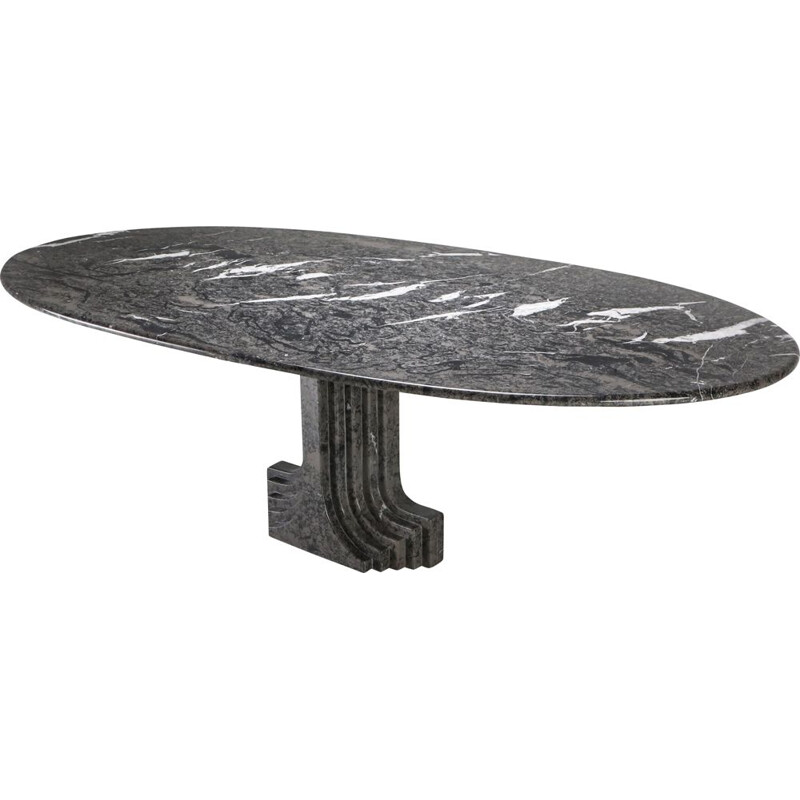 Vintage Samo Table by Carlo Scarpa Grey Marble 1970s