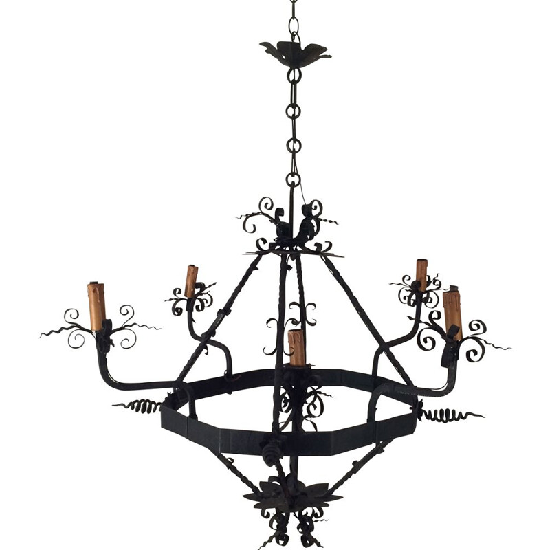 Vintage Wrought Iron Chandelier with 4 Arms of Light 1940