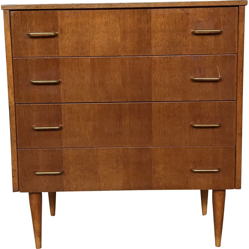 Vintage chest of drawers with Scandinavian look  tapered legs 1950's