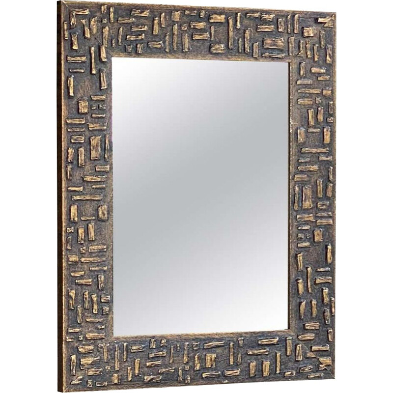 Vintage mirror in painted wood, gold color 1970