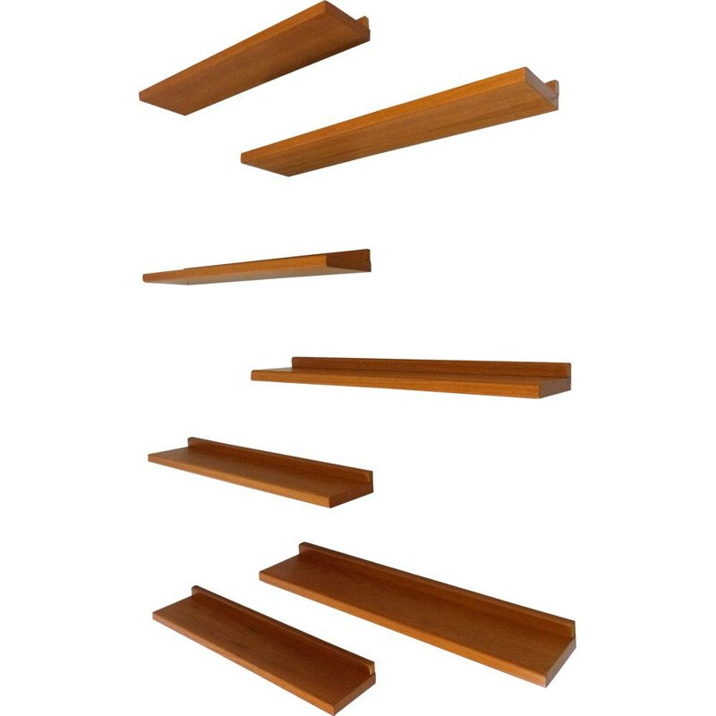 Set of 7 vintage teak wall shelves Danish