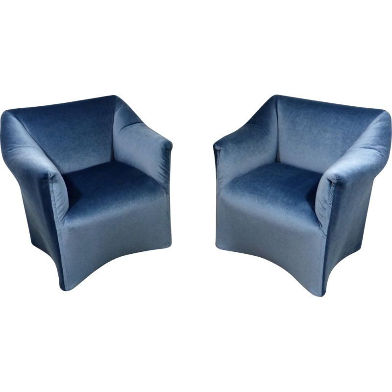 Pair of Vintage easy chairs Grande Tentazione by Mario Bellini for Cassina Italian 1970s