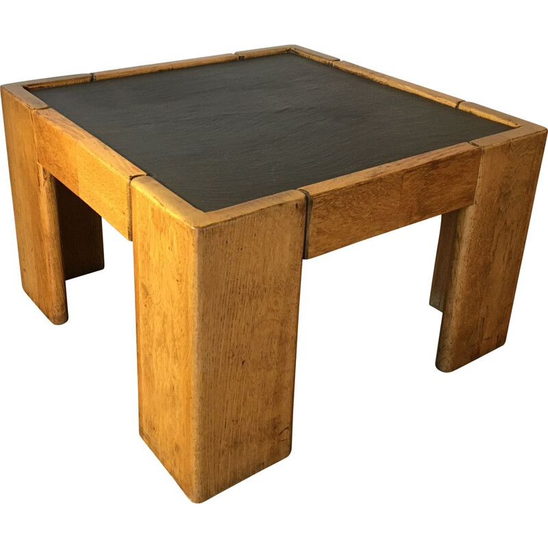 Vintage brutalism coffee table Slate top
